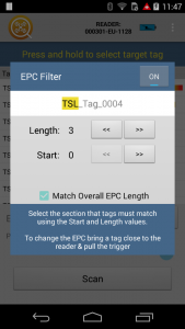 Tag Finder - Android - Configue EPC Filter