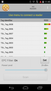 Tag Finder - Android - Set Power Level